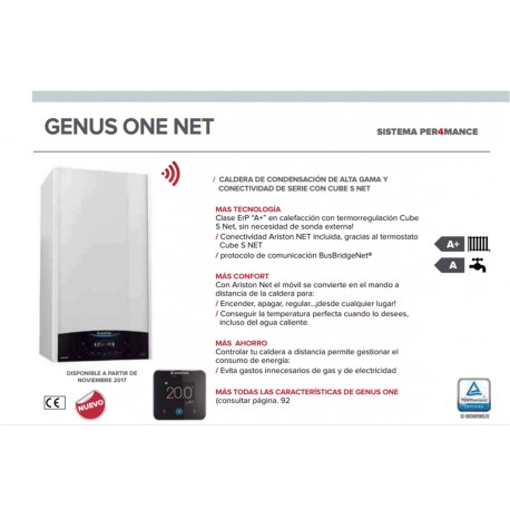 Caldera a gas de condensaci n ariston genus one net 24 eu for Ariston clas premium 24 ff