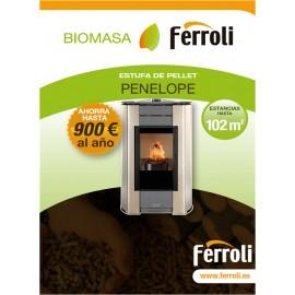 Estufa de Pellets para calefacción de estancias diáfanas PENELOPE HR con mando a distancia