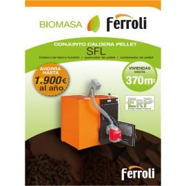 Conjunto Caldera de pellets SFL 3 para instalaciones por agua, (caldera+quemador+puerta transf+contenedor)
